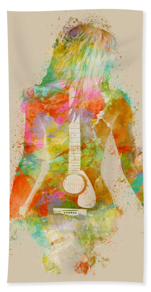 Guitar Bath Towel featuring the digital art Music Was My First Love by Nikki Marie Smith
