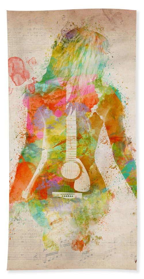 Guitar Hand Towel featuring the digital art Music Was My First Love by Nikki Marie Smith