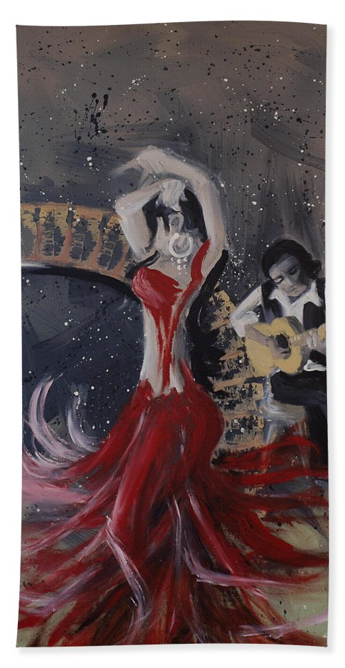 Dance Hand Towel featuring the painting Musica Espaniol by Kelly Jade King