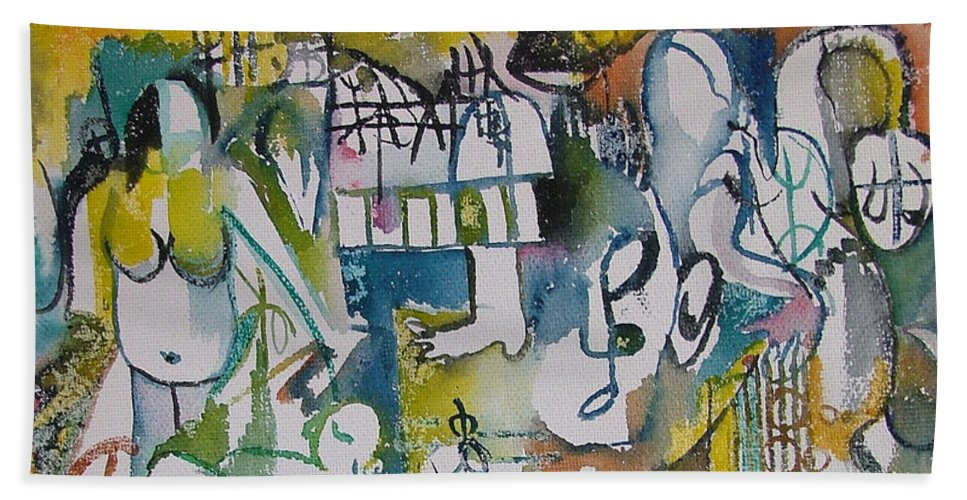 Music Bath Towel featuring the painting Musical Abstraction by Rita Fetisov
