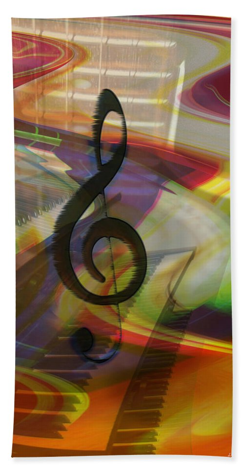 Keyboards Bath Sheet featuring the photograph Musical Waves by Linda Sannuti