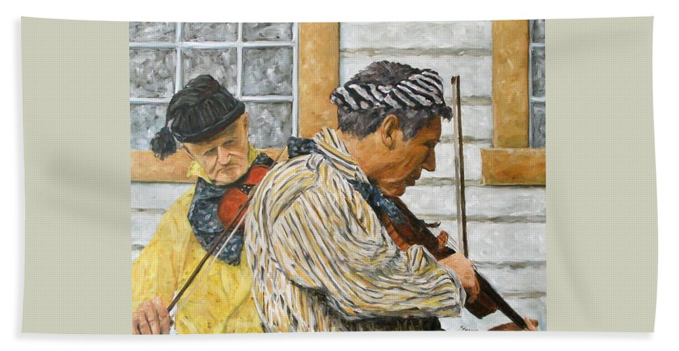Richard T Pranke Hand Towel featuring the painting Musicians by Richard T Pranke