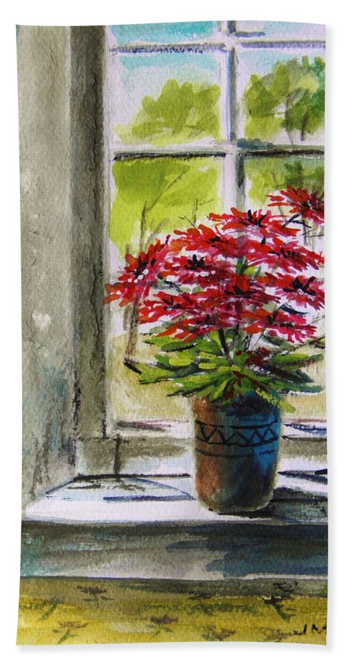 Gerbera Daisies Bath Sheet featuring the painting Musing-gerberas At The Window by John Williams