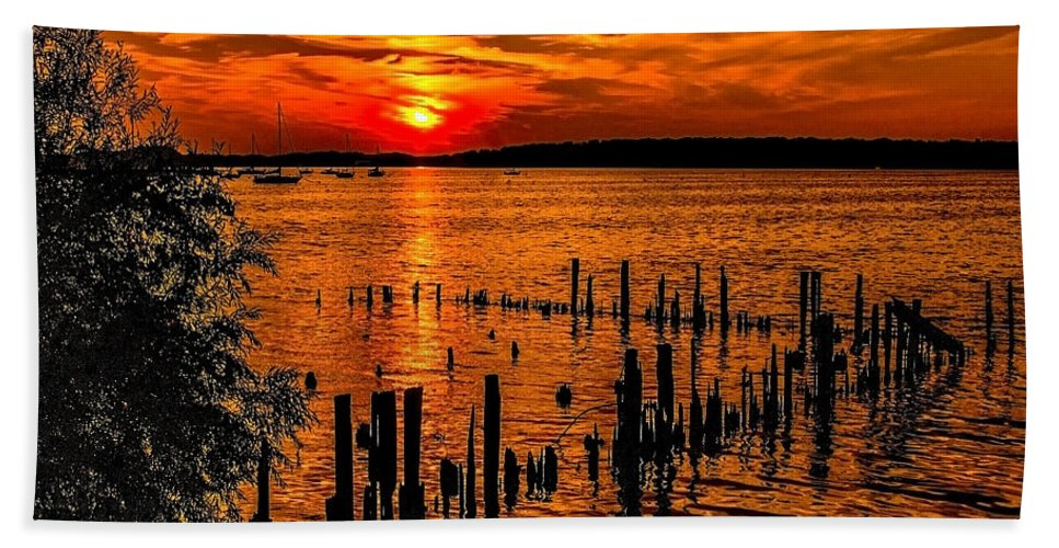 Lake Hand Towel featuring the photograph Muskegon Sunset by Nick Zelinsky