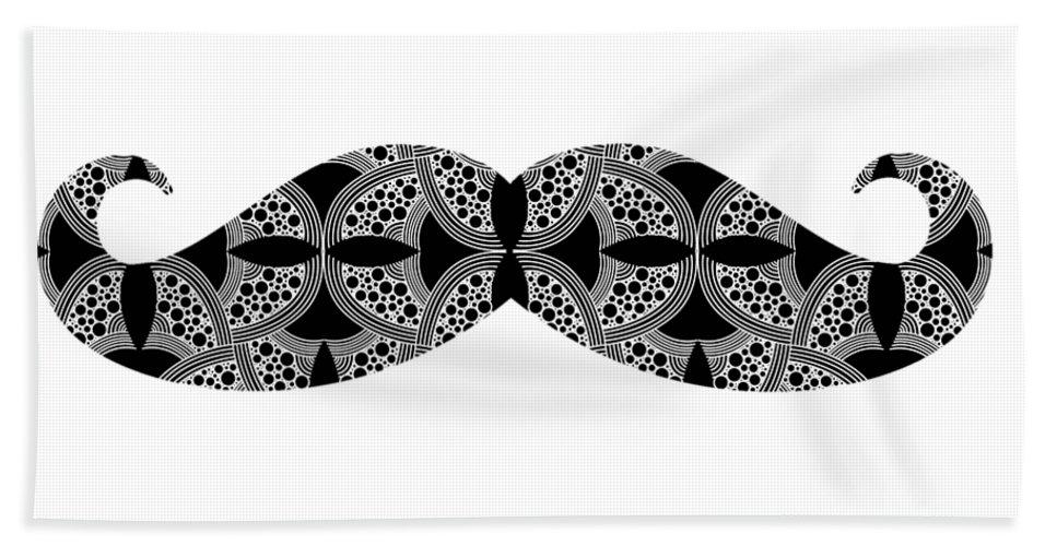 Mustache Bath Towel featuring the digital art Mustache Tee by Edward Fielding