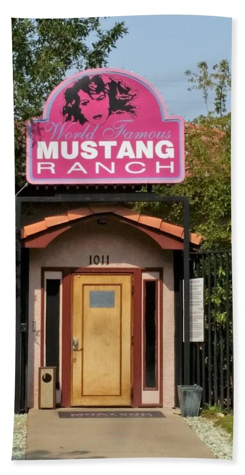 Mustang Ranch Bath Sheet featuring the photograph Mustang Ranch Entrance by Scott Ivens