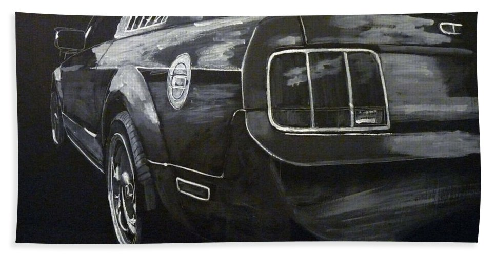 Ford Bath Sheet featuring the painting Mustang Rear by Richard Le Page