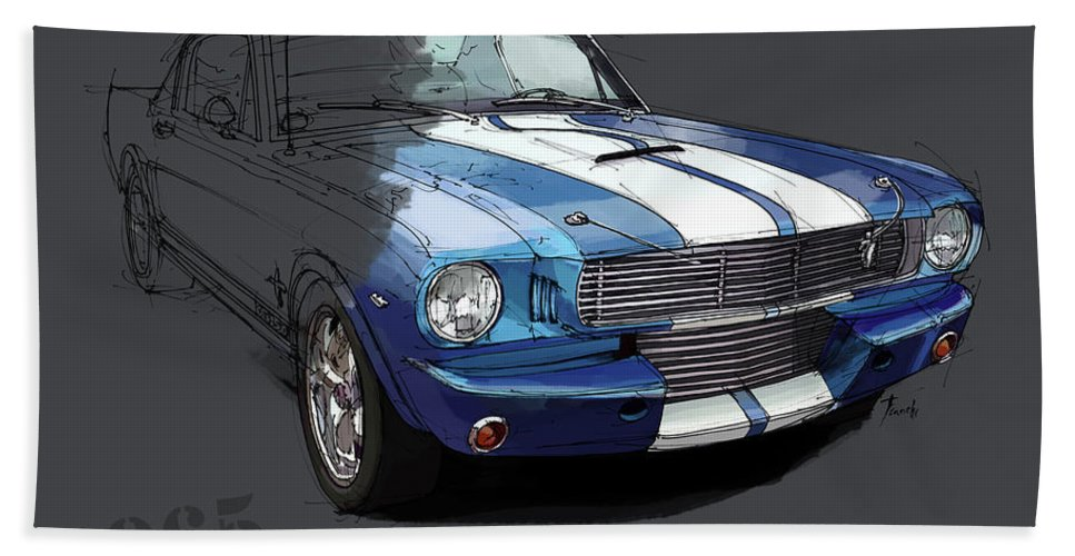 Chevrolet Corvette Convertible L88 1968 Bath Sheet featuring the digital art Mustang Shelby Gt-350, Blue And White Classic Car, Gift For Men by Drawspots Illustrations
