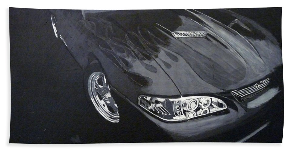 Mustang Bath Sheet featuring the painting Mustang With Flames by Richard Le Page