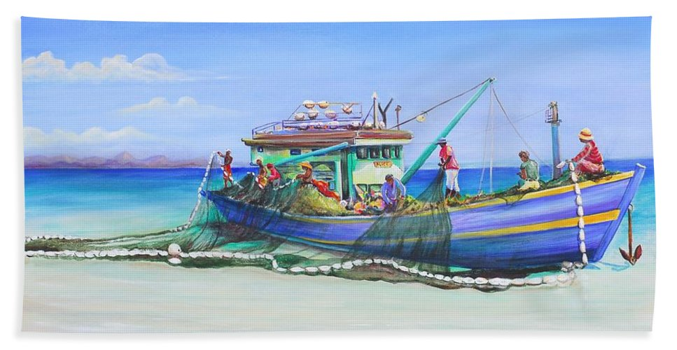Boat Bath Sheet featuring the painting Mv Alice Mary by Patricia Piffath