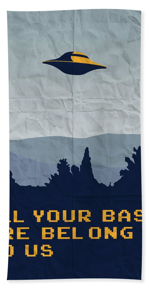 Classic Bath Towel featuring the digital art My All your base are belong to us meets x-files I want to believe poster by Chungkong Art