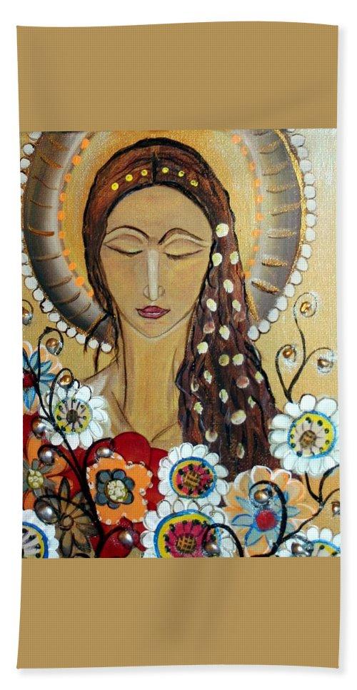 Art Bath Towel featuring the painting My Angel Modern Icon by Luiza Vizoli
