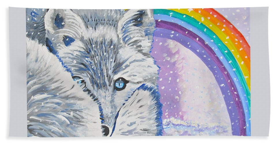 White Fox Hand Towel featuring the painting My Artic Fox by Phyllis Kaltenbach