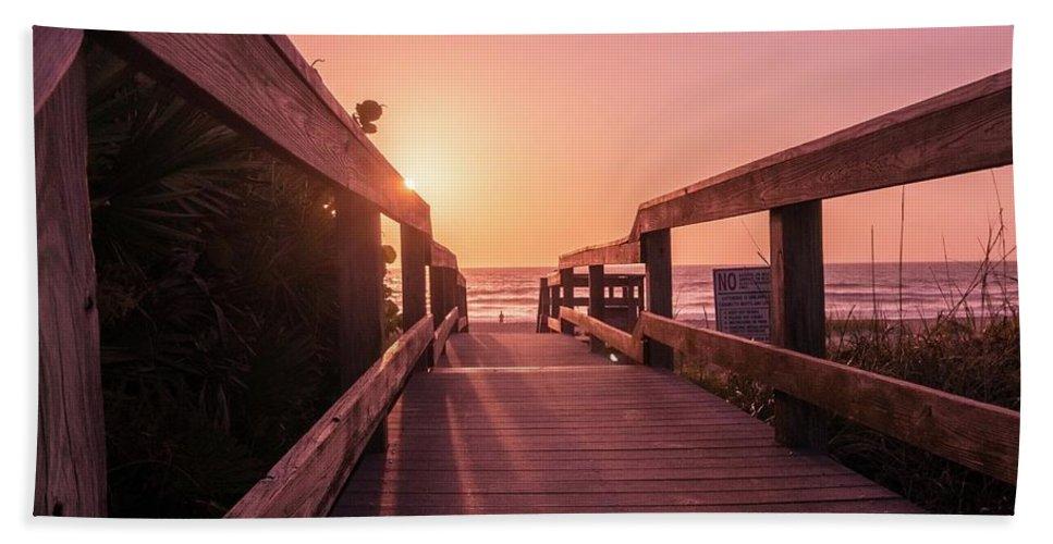 Atlantic Ocean Bath Sheet featuring the photograph My Atlantic Dream -the Boardwalk by Carlos Avila