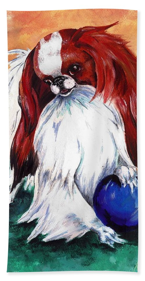 Japanese Chin Hand Towel featuring the painting My Ball by Kathleen Sepulveda