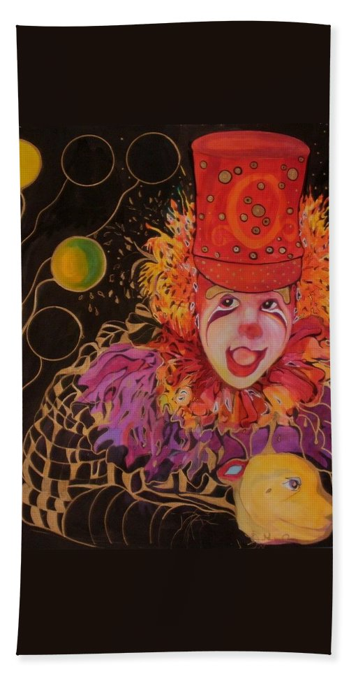 Clowns Hand Towel featuring the painting My Best Friend In A Life Of Comedy by Carolyn LeGrand