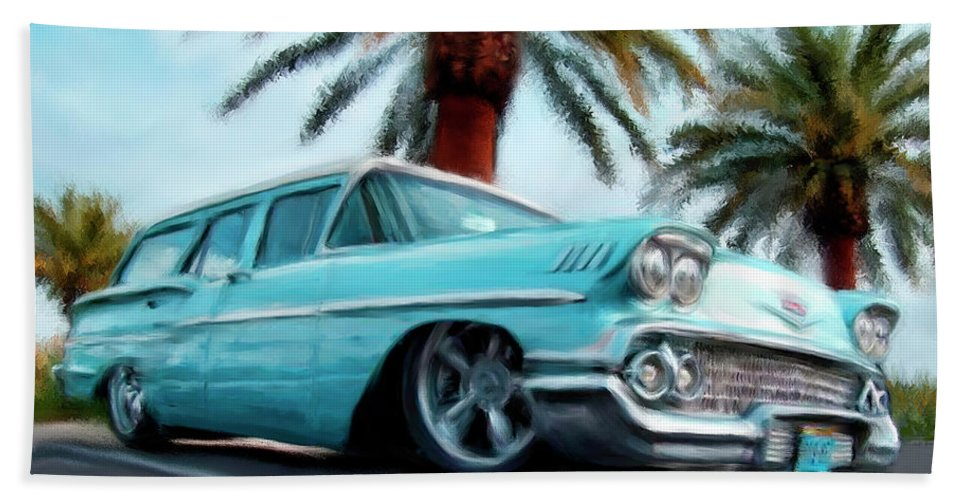 Cars Hand Towel featuring the painting My Blue Heaven by Colleen Taylor