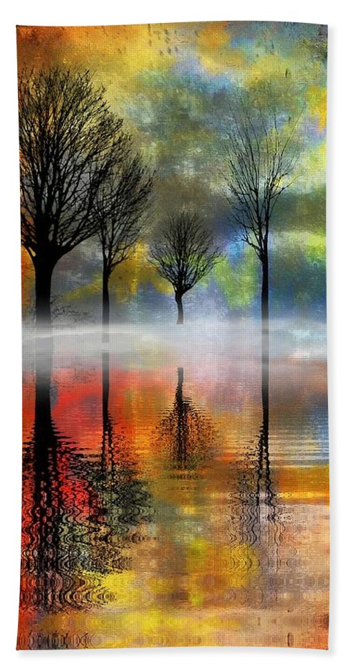 Trees Hand Towel featuring the digital art My Blue Heaven by Ellen Cannon