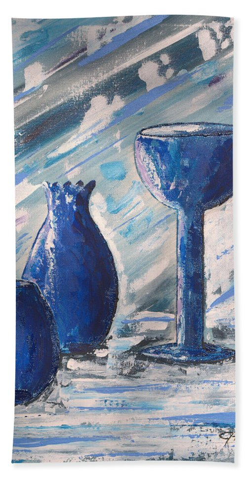 Vases Bath Sheet featuring the painting My Blue Vases by J R Seymour