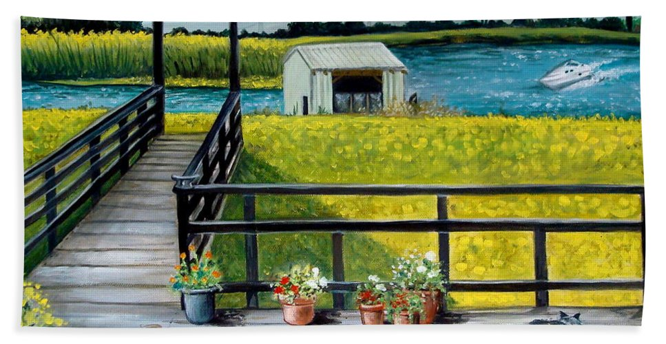 Landscape Bath Sheet featuring the painting My Canvas by Elizabeth Robinette Tyndall