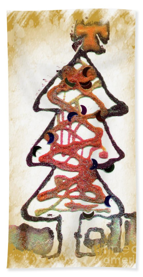 Christmas Tree Hand Towel featuring the mixed media My Christmas Tree by Angela L Walker