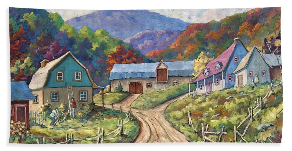 Country Hand Towel featuring the painting My Country My Village by Richard T Pranke