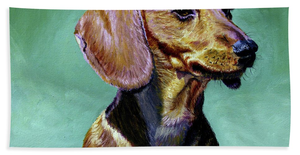 Daschund Bath Towel featuring the painting My Daschund by Stan Hamilton