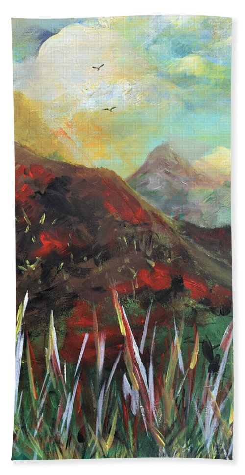 Mountains Bath Sheet featuring the painting My Days In The Mountains by Gary Smith