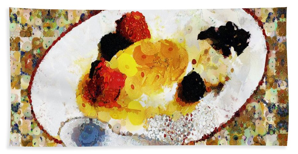 Dessert Bath Sheet featuring the painting My Dinner With Gustav by RC DeWinter