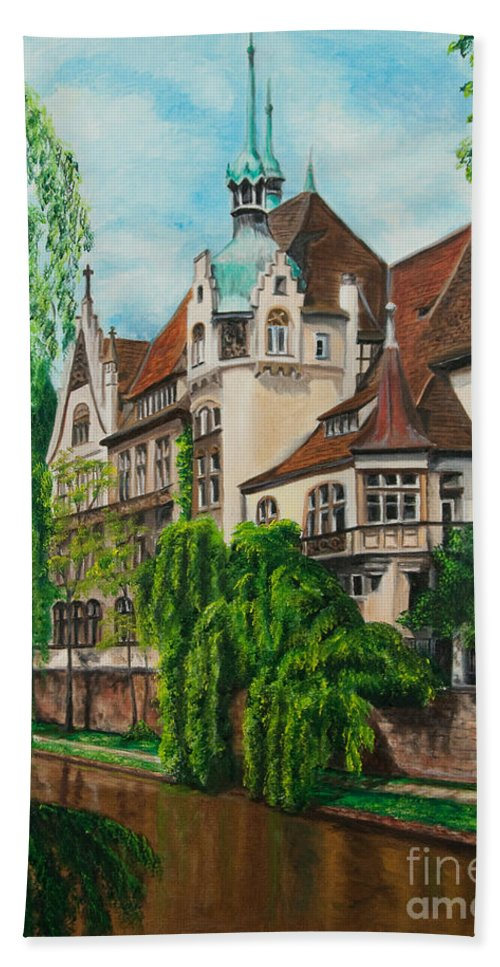 Dream House Hand Towel featuring the painting My Dream House by Charlotte Blanchard