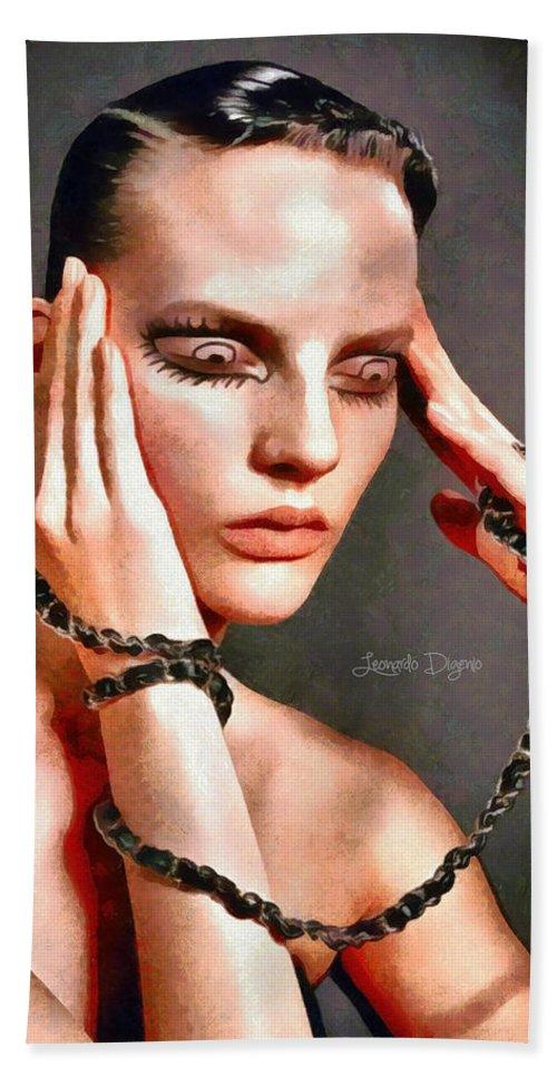 Adult Bath Sheet featuring the painting My Eyes by Leonardo Digenio