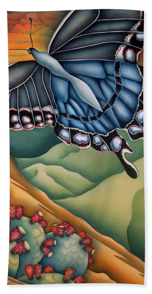 Butterfly Hand Towel featuring the painting My Favorite Canyon by Jeniffer Stapher-Thomas