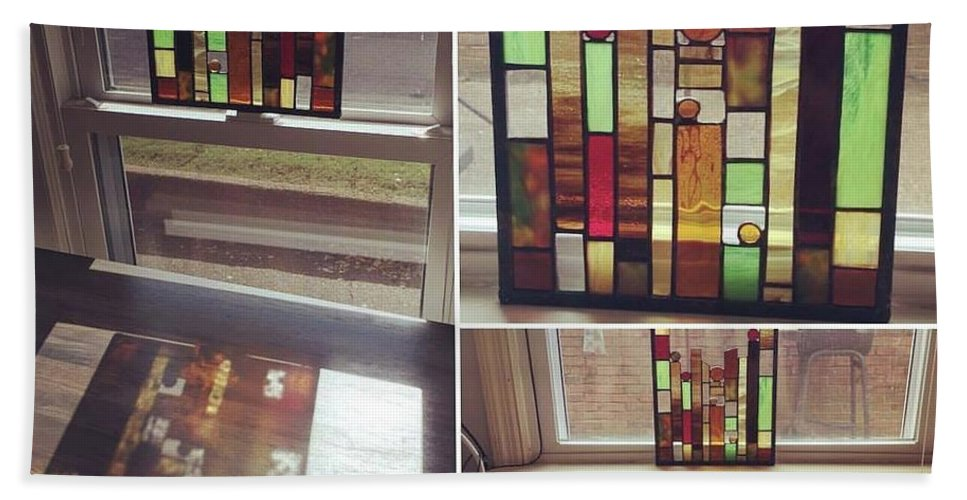 Stained Glass Hand Towel featuring the glass art My First Tiny Window by Summer Porter