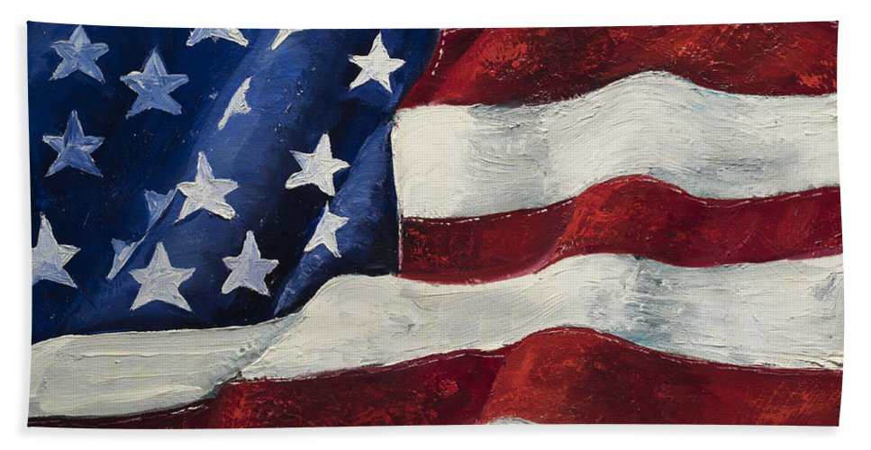 American Flag Bath Sheet featuring the painting My Flag by Jodi Monahan