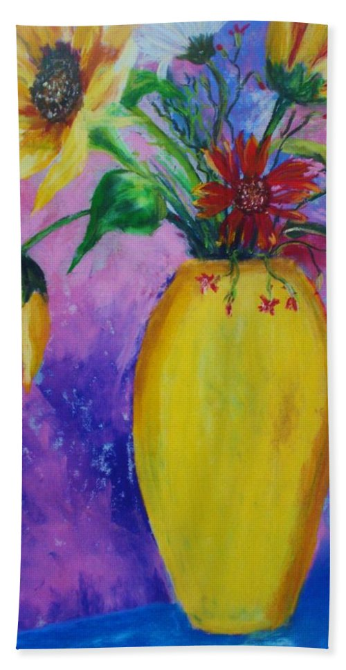 Sunflowers Bath Sheet featuring the painting My Flowers by Melinda Etzold
