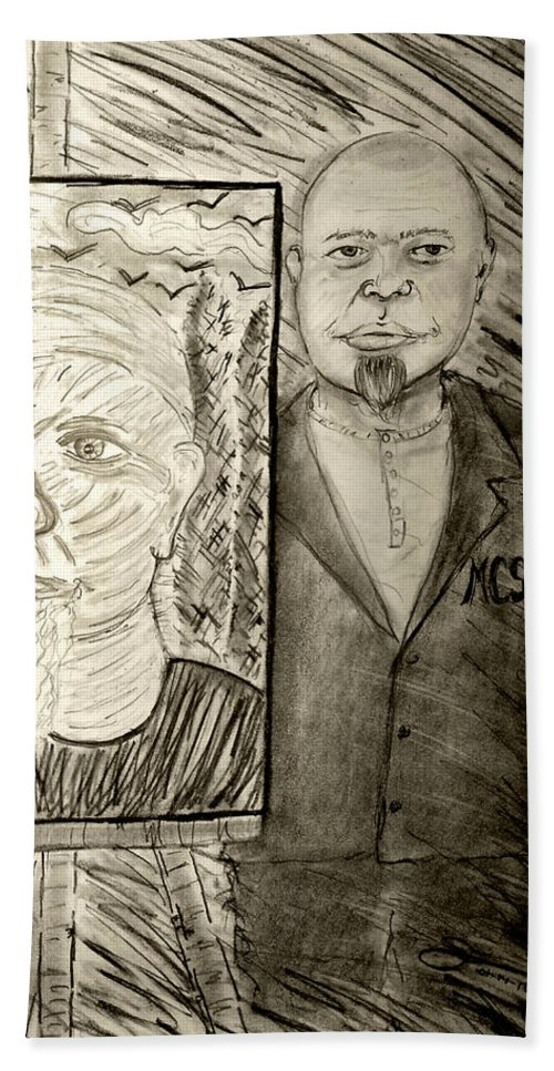 My Friend Marc C. Slootjes With One Of His Self-portrait. Hand Towel featuring the drawing My Friend Marc C Slootjes With One Of His Self-portrait by Jose A Gonzalez Jr