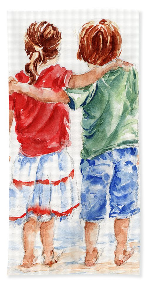 Watercolour Bath Towel featuring the painting My Friend by Stephie Butler