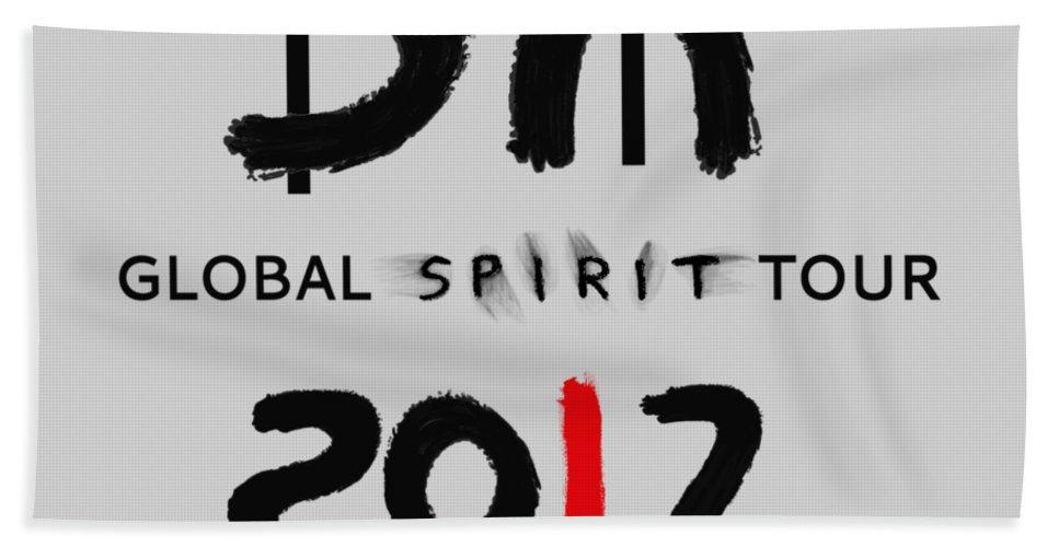 Depeche Mode Bath Sheet featuring the digital art My Global Spirit Tour 2017 - Black by Luc Lambert