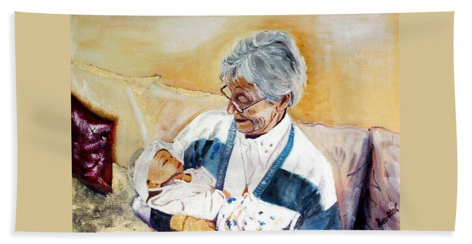 Portrait Hand Towel featuring the painting my granddaughter Leonie with her great grandmum by Helmut Rottler