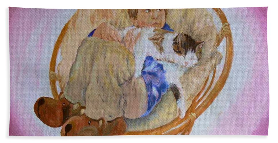 Portrait Hand Towel featuring the painting my grandson Pascal with his cat Paul by Helmut Rottler
