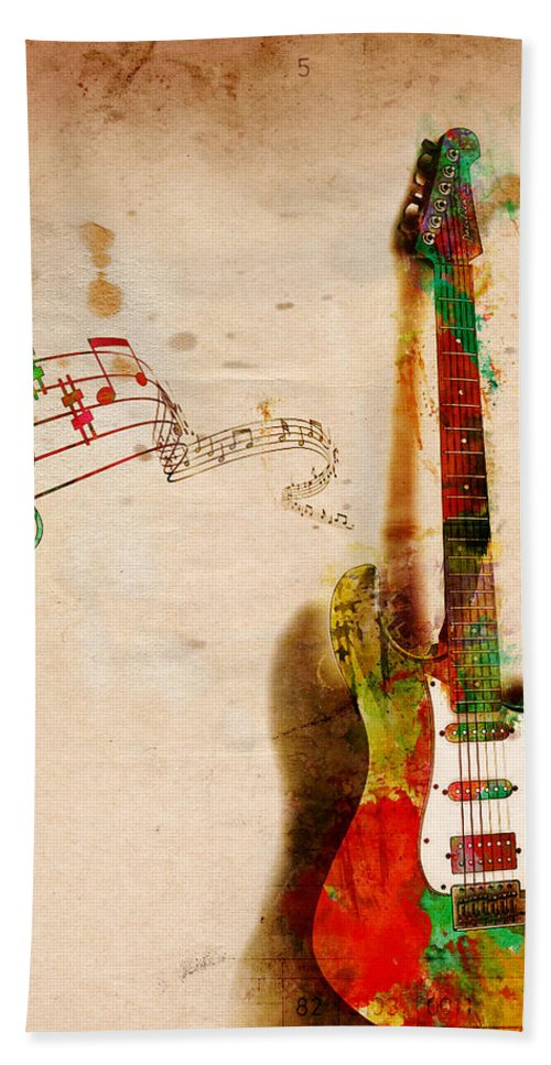Guitar Bath Towel featuring the digital art My Guitar Can SING by Nikki Smith