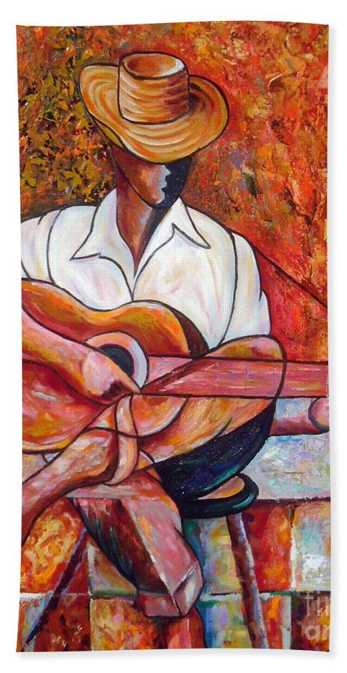 Cuba Art Bath Towel featuring the painting My Guitar by Jose Manuel Abraham