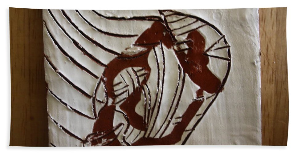 Jesus Bath Sheet featuring the ceramic art My Heart - Tile by Gloria Ssali