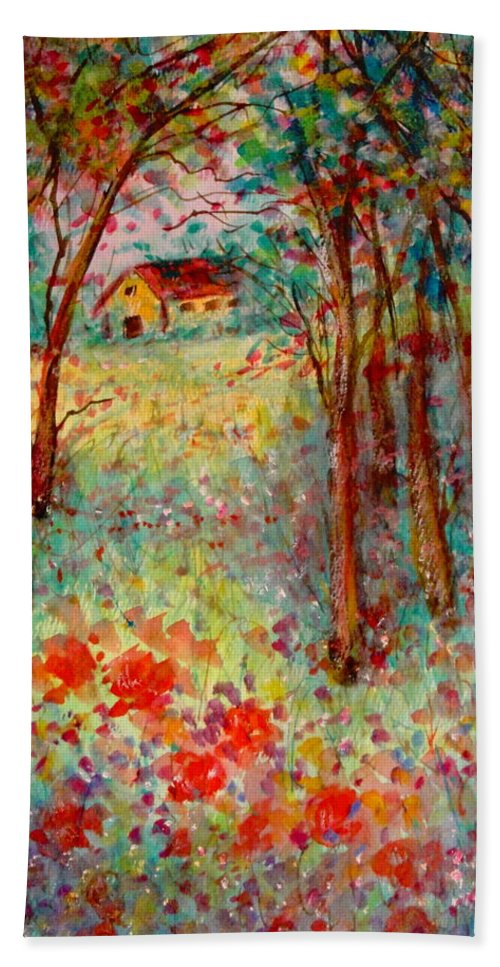 Nature Bath Sheet featuring the painting My Heavenly Hideout by Natalie Holland