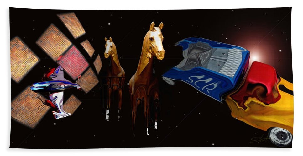 Black Hand Towel featuring the photograph My How Times Change by Charles Stuart