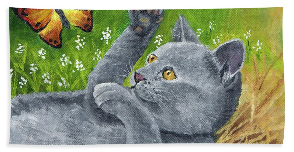 Kitten Hand Towel featuring the painting My Kitty by Carol Schmauder