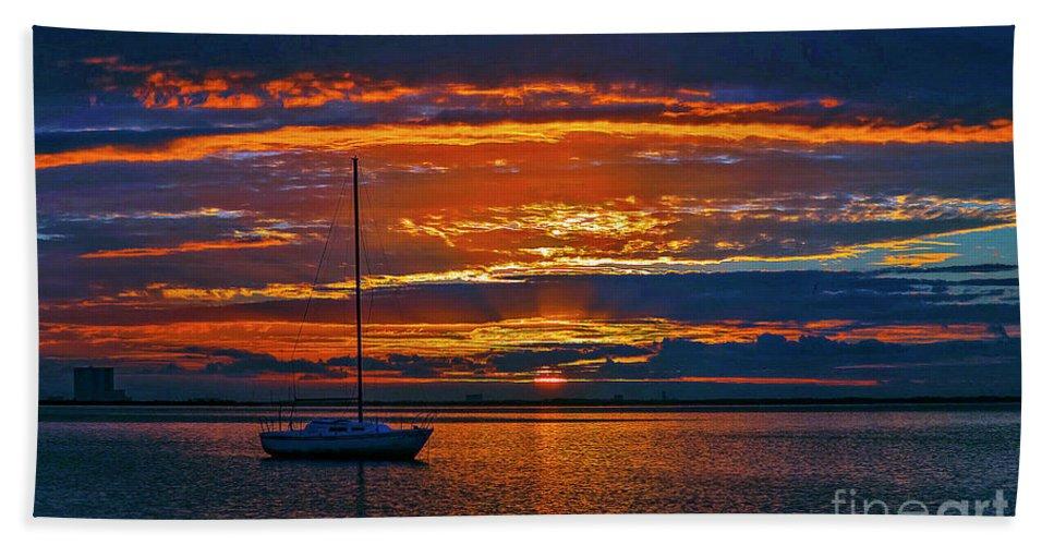Sunrise Bath Sheet featuring the photograph My Last Sunrise At 56 by Davids Digits