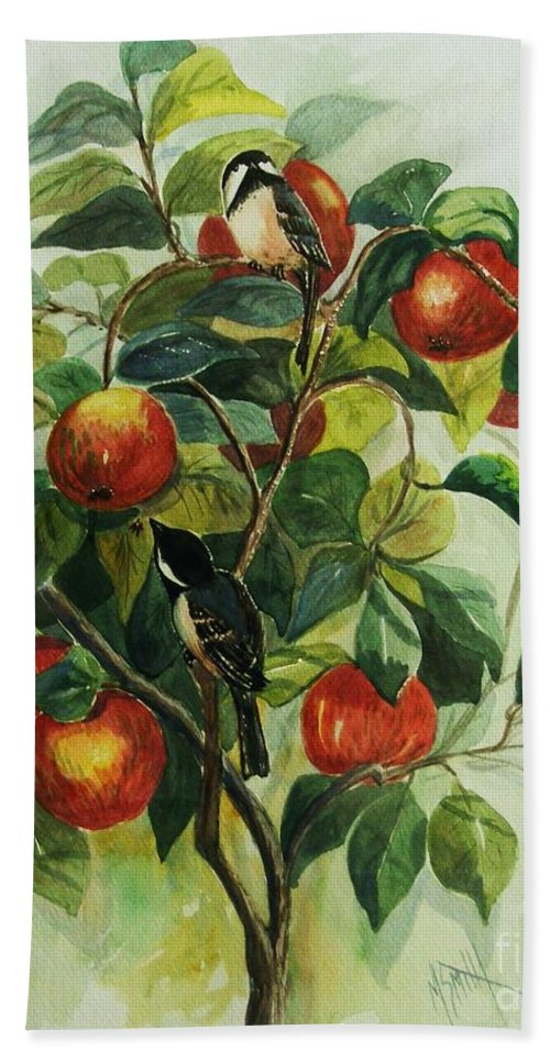 Chickadees Hand Towel featuring the painting My Little Chickadee by Marilyn Smith