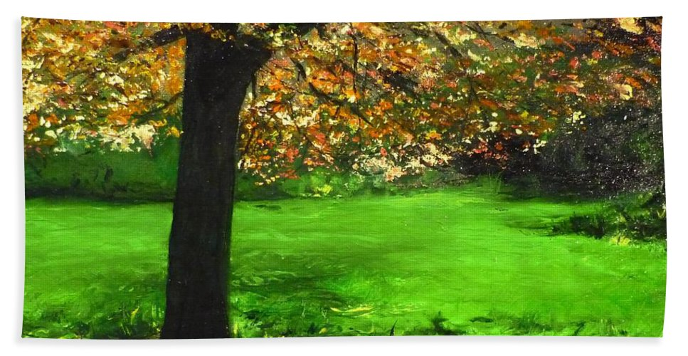 Spiritualism Bath Towel featuring the painting My Love Of Trees I by Lizzy Forrester