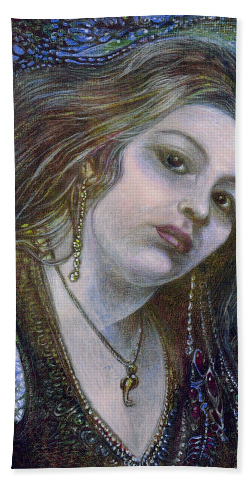Fantasy Hand Towel featuring the painting My Mermaid Christan by Otto Rapp